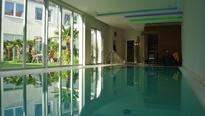Pool mittels Wärmetauscher beheizt, Sauna und Dampfdusche